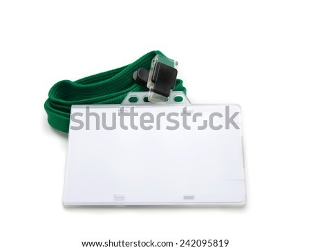 Blank ID or security card with green neck strap isolated on white. For adding your text of your choice.  - stock photo