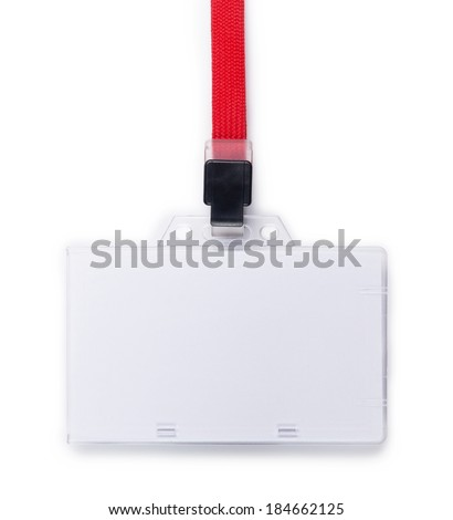 Blank ID or security card with red neck strap isolated on white.