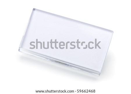 Blank ID tag isolated on white - stock photo
