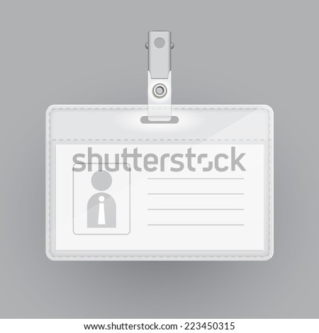 blank identification card template isolated on grey