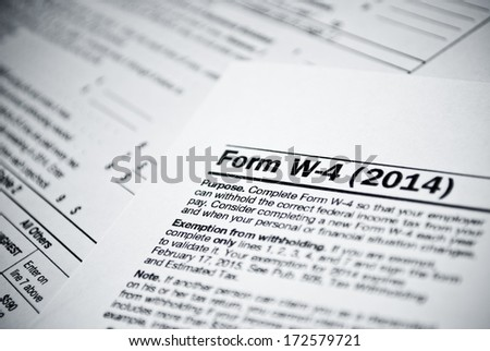 Blank income tax forms. American 1040 Individual Income Tax return form.