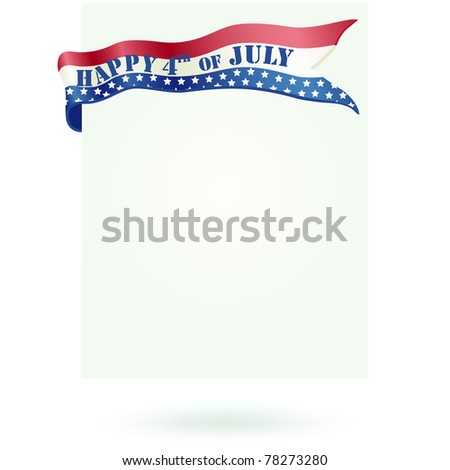 Blank independence and 4th July  day paper and wrap ribbon. Space to write your own message. - stock photo