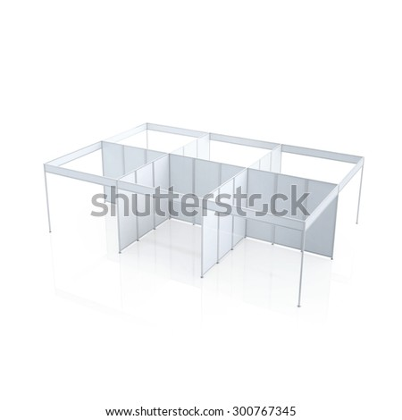 Blank Indoor Exhibition Trade information 3D render on white background, Template for easy presentation of a standard stand