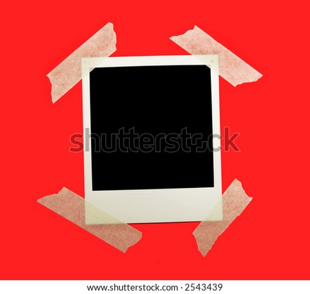 Blank instant photo taped to a red background. - stock photo