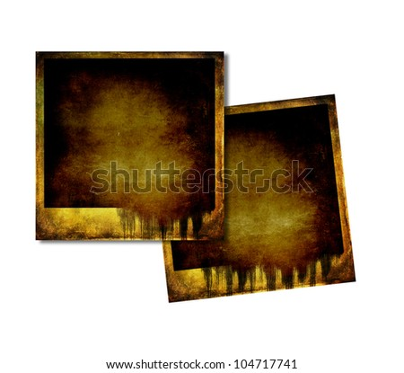 Blank instant photos isolated on white with dripping - stock photo