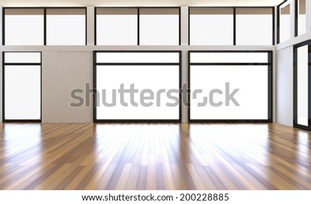blank interior with brick wall windows parquet balcony