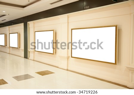 Blank interiors exhibition boards on a wall - stock photo