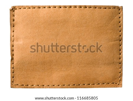 Blank jeans label isolated on white - stock photo