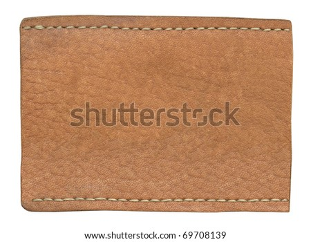 Blank jeans label isolated on white background - stock photo