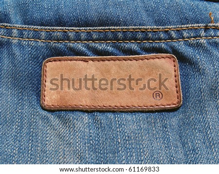 Blank jeans label on jean fabric