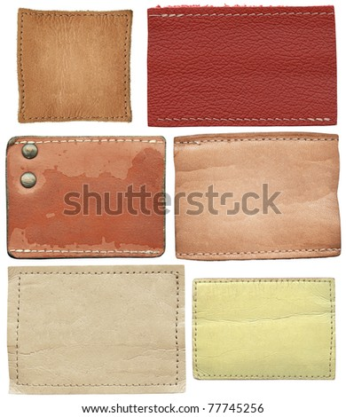 Blank jeans labels isolated on white background - stock photo