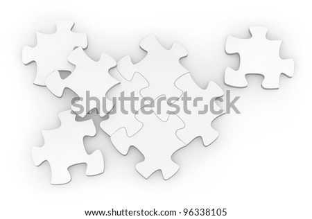 Blank Jigsaw pieces on a white background