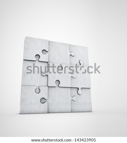 blank jigsaw puzzle made of stone - stock photo