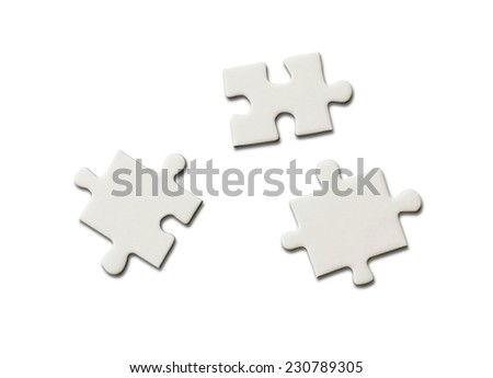 blank jigsaw puzzle pieces - stock photo