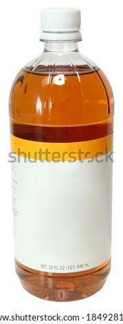 Blank Label Bottle Apple Cider Vinegar Over White - stock photo