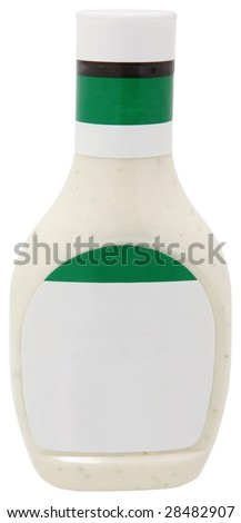Blank label bottle of salad dressing over white.  Add text. - stock photo
