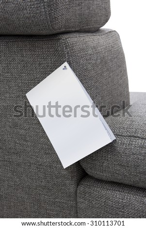 blank label on a piece of furniture - stock photo