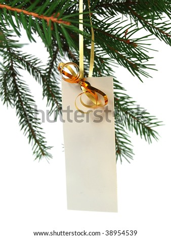 Blank label on christmas tree - stock photo