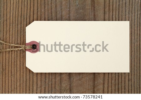 Blank label on wooden background