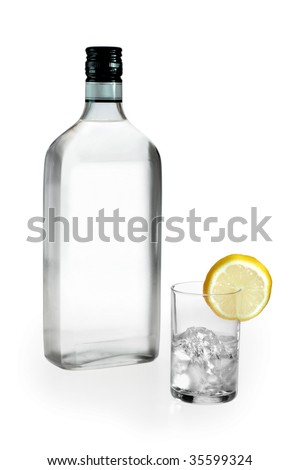 blank label vodka glass and lemon on white background