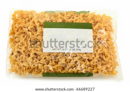 Blank Label Wide Egg Noodle Package over white background. - stock photo