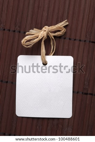 blank label with natural string - stock photo