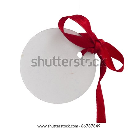 blank label with red bow