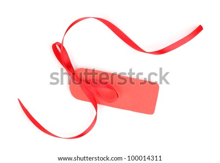 Blank label with ribbon isolated on white