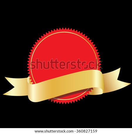 Blank labels with golden ribbon - stock photo