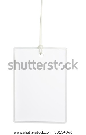 Blank laminated badge isolated on white background with clipping path - stock photo