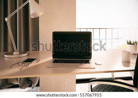Blank laptop in modern conference room. Mock up, 3D Rendering