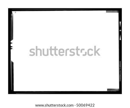 Blank large format negative picture frame,landscape format with free copy space, isolated on white background, - stock photo