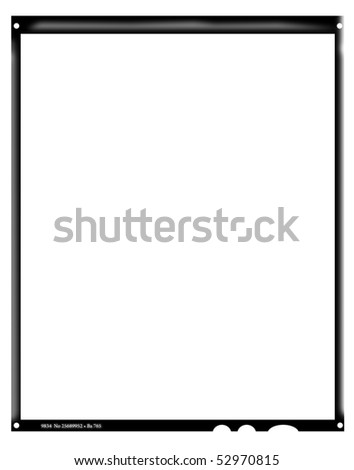 Blank large format negative picture frame,with free copy space, isolated on white background, - stock photo