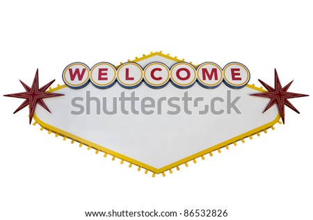 Blank Las Vegas Sign Isolated on White - stock photo