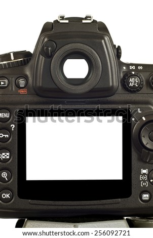 Blank LCD Screen On Digital Camera  Vertical Shot - stock photo