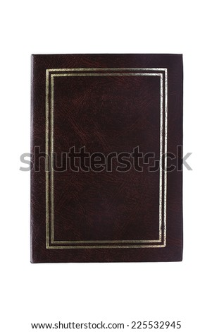 Blank leather brown photo album cover with golden frame isolated over white - stock photo