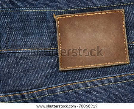 Blank leather jeans label - stock photo