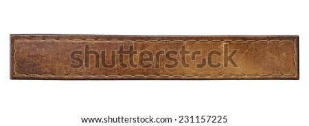 Blank leather jeans label, isolated long tag. - stock photo