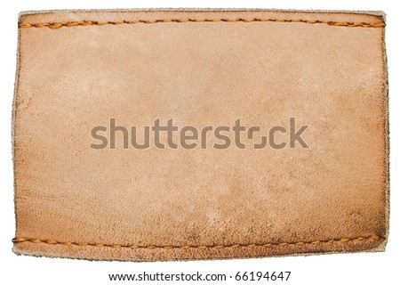 Blank leather jeans label isolated on white - stock photo