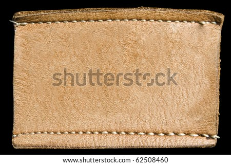 Blank leather label - stock photo