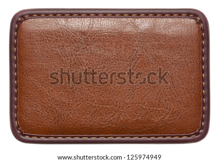 Blank leather label with stitches, isolated. - stock photo
