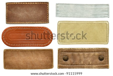 Blank leather, textile jeans labels. - stock photo