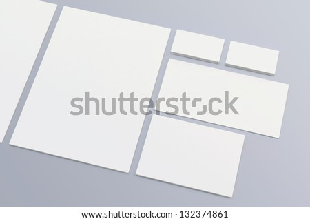 Blank Letterhead Envelopes and Business card isolated - stock photo