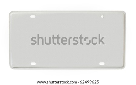 blank license plate isolated on a white background - stock photo