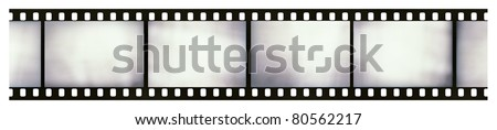 Blank light leaked highly detailed real vintage 35mm black-and-white negative film frame, hard grain, dust and scratches visible, isolated on white background - stock photo