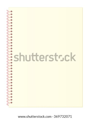 Blank Light Yellow Notebook Paper with Spiral Wire Binding isolated on White Background Illustration