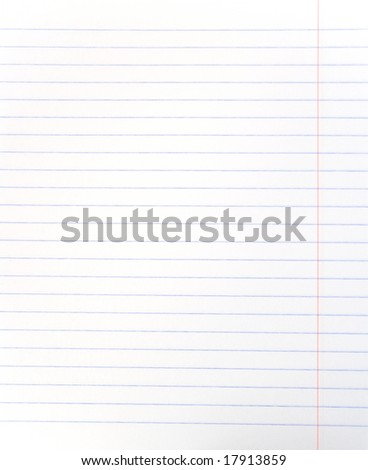 Blank lined notebook sheet - stock photo