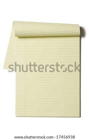 Blank lined paper isolated on a white background
