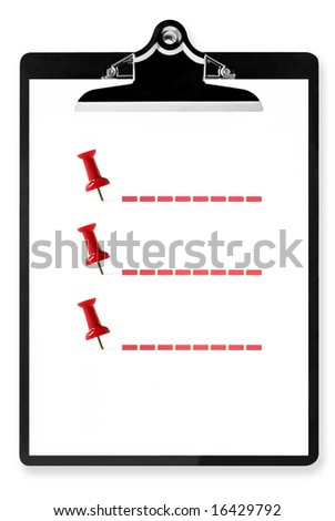 Blank list on clipboard, marked with red pushpins, and room for text. - stock photo