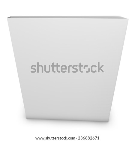 Blank magazine book with empty white cover. Copy space for any illustration. Standing on floor and isolated on white background. - stock photo